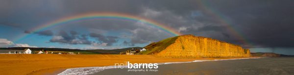 """Double rainbow at West Bay panoramic 45"""" x 10"""" canvas"""